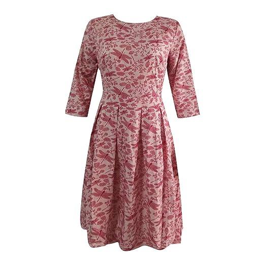 Soupliebe Vestido Dama Retro Vestido Vestido Vestido de Estampado Floral Cuello Redondo de Manga Adelgaza Siete Vestido Vestido de Fiesta de Cena: ...
