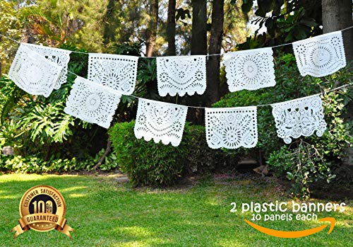 Papel Picado White Banner Plastic Mexican Decorations Party Fiesta -2 Pack- 10 Beautiful Panels Each Strip (Over 19 Feet Long) Flags for Parties Birthday Wedding Boda Baptism Baby Shower -Handmade