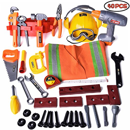 Construction Kids Tool Toy Set, Handy-man Pretend Play Set, Role Play Costume with Hard Hats, Tool Belt and Accessories, 40 (Screw And Bolt Halloween Costume)