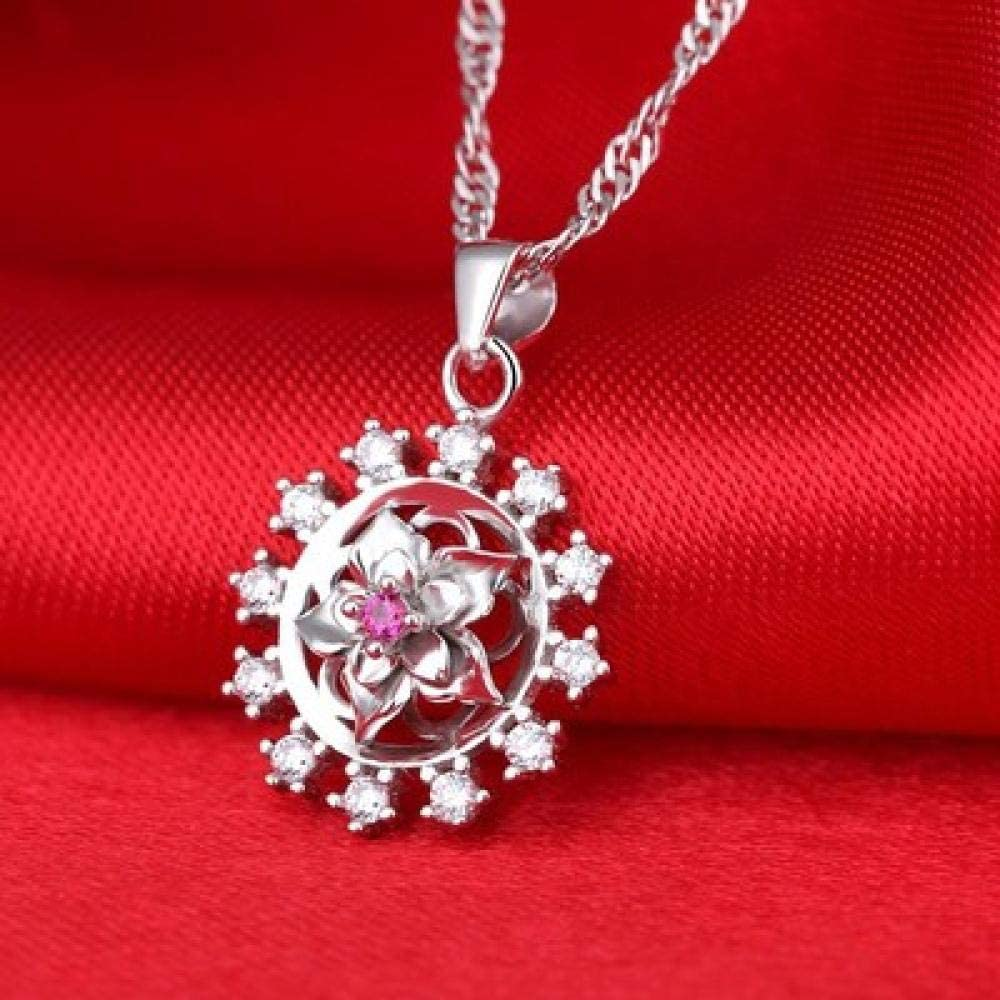 BAIMM Wild S925 Plata esterlina Colgante de Piedras Preciosas Artesanal Piedra Fina Brillante Rosa circón Collar joyería Elegante