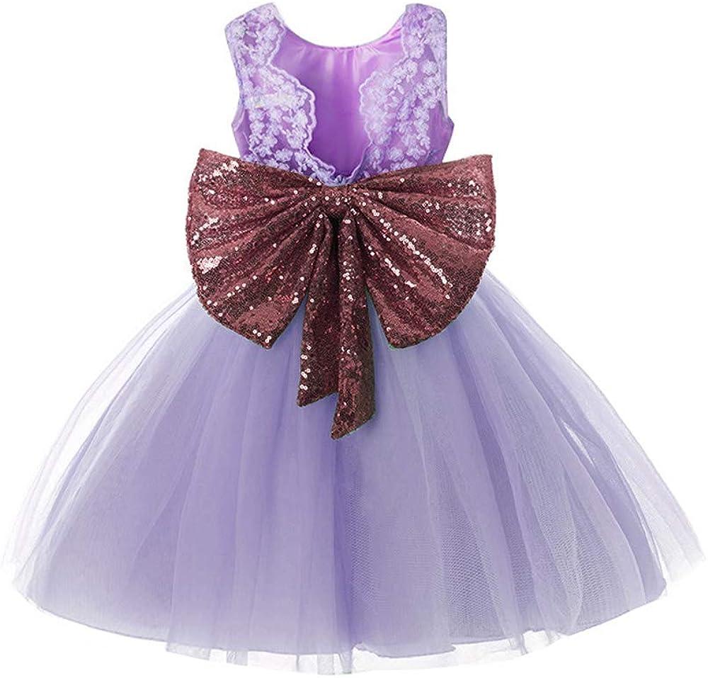 Inlefen Girls Bowknot Lace Princess Gonna Paillettes Estate Abiti per Beb/è Bambini 0-5 Anni
