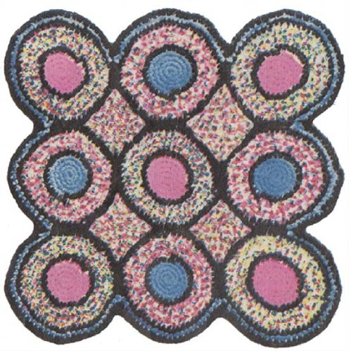 Crochet Rag - Bed of Roses or Yo Yo Square and Yo Yo Hexagon Crochet Rag Rug Pattern