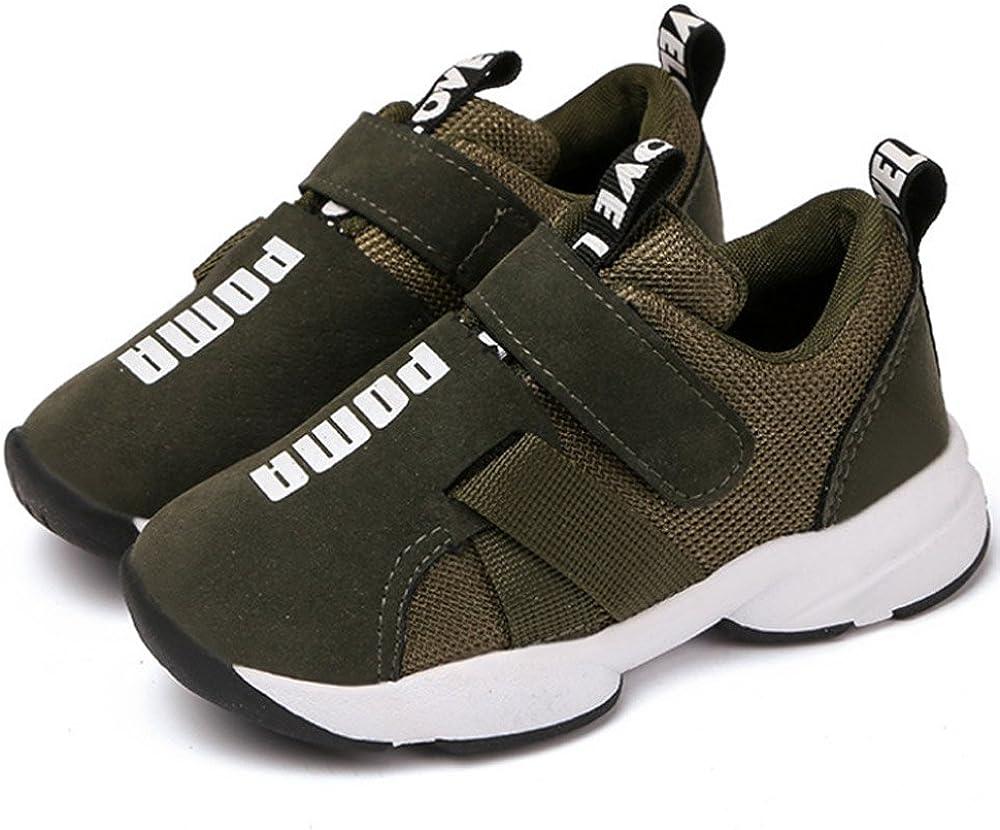 Daclay Zapatos niños Deportivo Transpirable y Transpirable con Parte Superior de Cuero cómoda con Zapatillas Velcro niña Sneakers