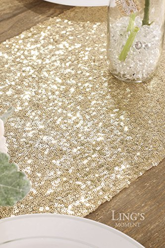 Ling's moment Sparkly Sequin Table Runner Champagne 12 x 108 Inch (Hem Edge) for Thanksgiving Christmas Wedding Engagement Party Bridal Baby Shower Dresser Decorations by Ling's moment (Image #6)