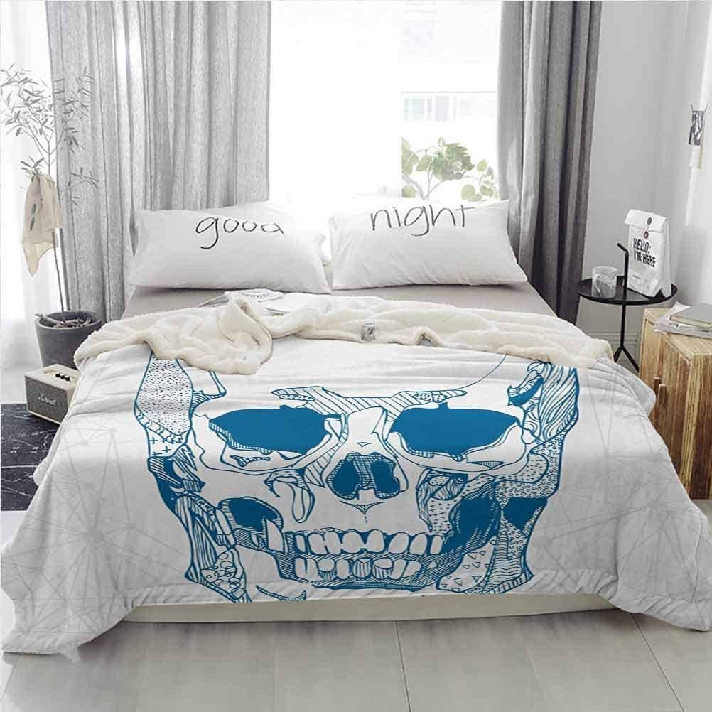 ParadiseDecor Skull Sherpa Fleece Blankets Home Sofa Bedding Office Car Blanket Hand Drawn Human Skull with Science Elements Background Medical Theme Illustration Blue White 50W x 65L inches