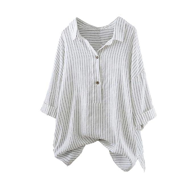 ❤️Camisa Pullover Button Algodón y Lino de Mujer de Rayas hasta la Blusa de túnica