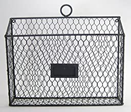 Rustic Country Style Chicken Wire Metal Wall Pocket Organizer File Holder