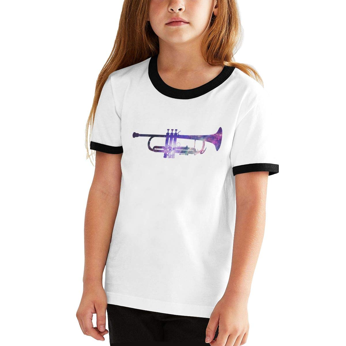 Kids Or Little Boys and Girls Galaxy Trumpet Art Unisex Childrens Short Sleeve T-Shirt