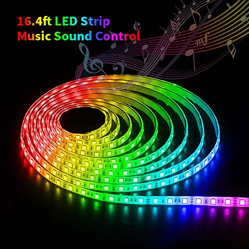 SOLMORE LED Strip Lights Sync to Music LED Lights 16.4Ft/5M RGB LED Strip Remote Control SMD5050 300 LED Strip Kit Waterproof Strip Lighting with 12V 5A Power for Home Party (Led Sound Activated Lights)