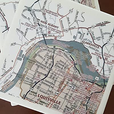 Louisville Street Map Coasters, Set of 4