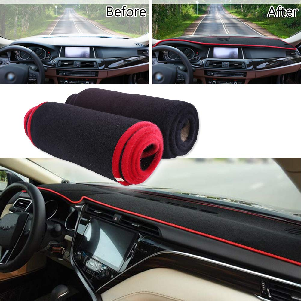 GTINTHEBOX Custom Fit Dashboard Black w//Red Rim Center Console Cover Dash Mat Protector Sunshield Cover Pad for 2018 Toyota Camry