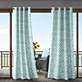 1 Piece Aqua Fretwork Gazebo Curtain Panel 95 Inch, Blue Trellis Outdoor Curtain Light Filtering For Patio Porch, Water Resistant Indoor/outdoor Drapes For Sunroom Pergola Garden Grommet, Polyester