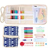 Damero Ergonomic Crochet Hooks Set, Travel Canvas Roll Organizer with 9pcs 2mm to 6mm Soft Grip Crochet Hooks and Complete Knitting Accessories, All in One, Easy to Carry, Elephants