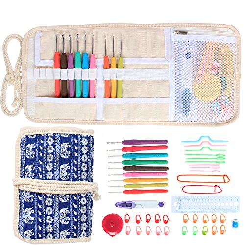 Damero Ergonomic Crochet Hooks Set, Travel Canvas Roll Organizer with 9pcs 2mm to 6mm Soft Grip Crochet Hooks and Complete Knitting Accessories, All in One, Easy to Carry, Elephants by Damero