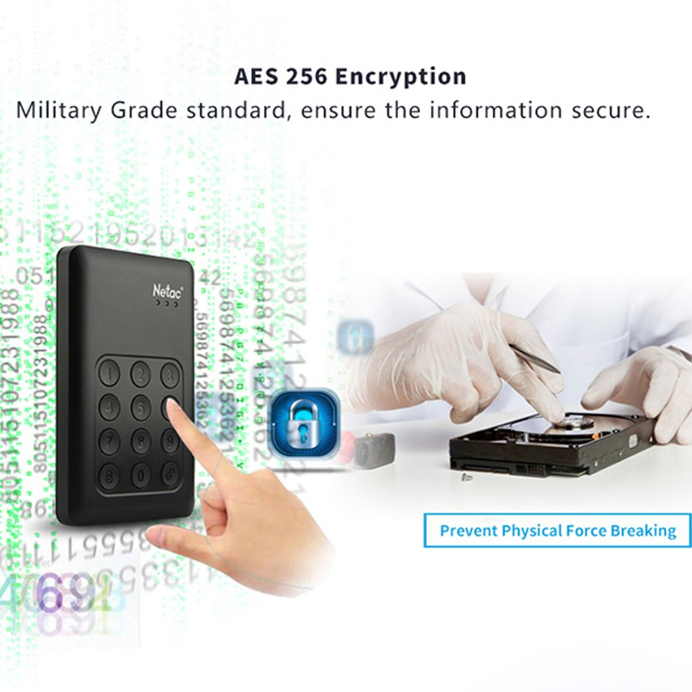 Encrypted Portable External Hard Drive - Netac K390 1TB USB 3.0 Keypad Lock 256-bit AES Physical Hardware Encryption Secure HDD Disk by Netac (Image #4)