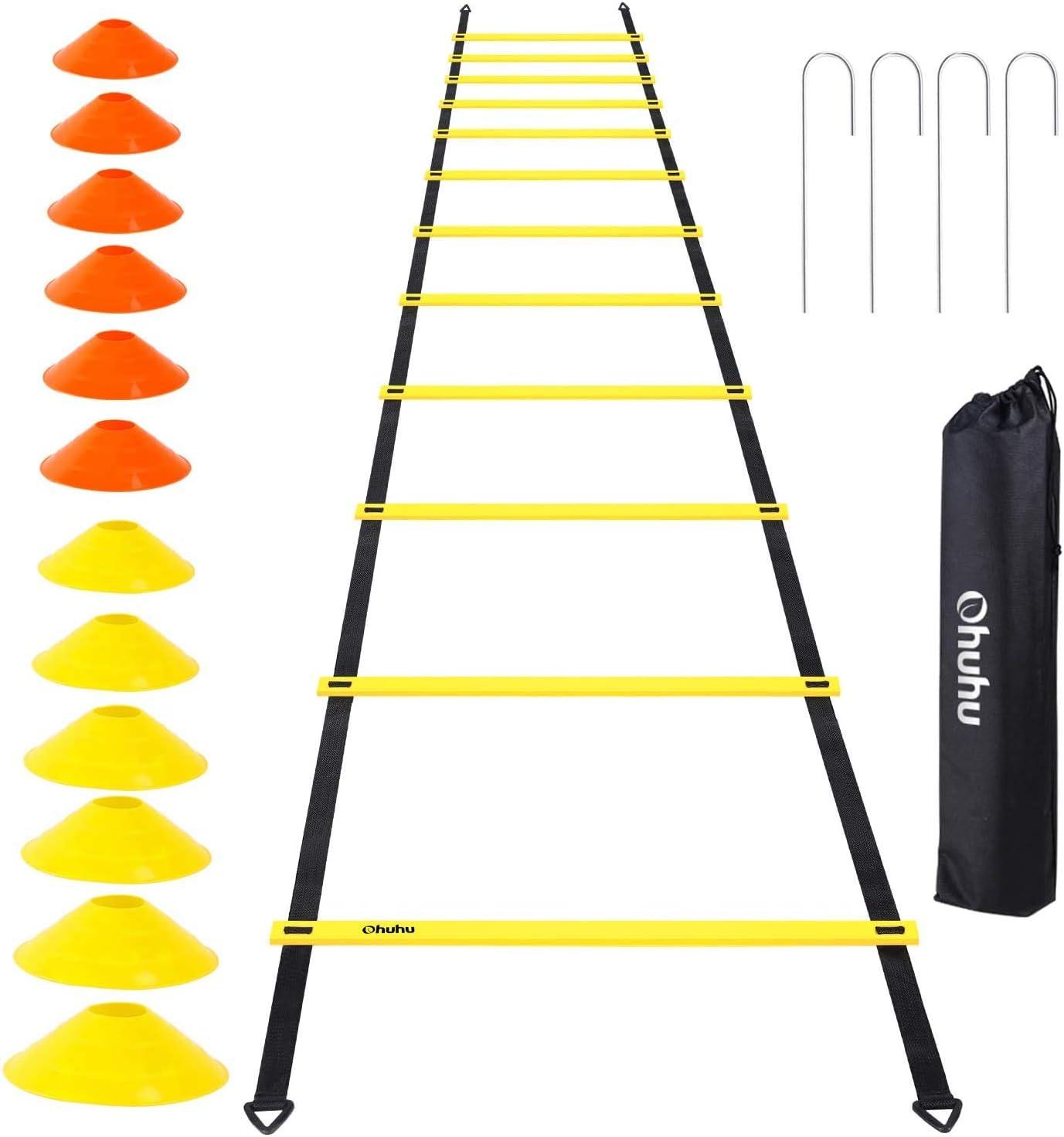 Ohuhu Juego de Entrenamiento Escalera de 12 peldaños con 12 Conos de Campo y 4 Clavos. Ideal para Juego de pies para Ejercicios de fútbol: Amazon.es: Deportes y aire libre