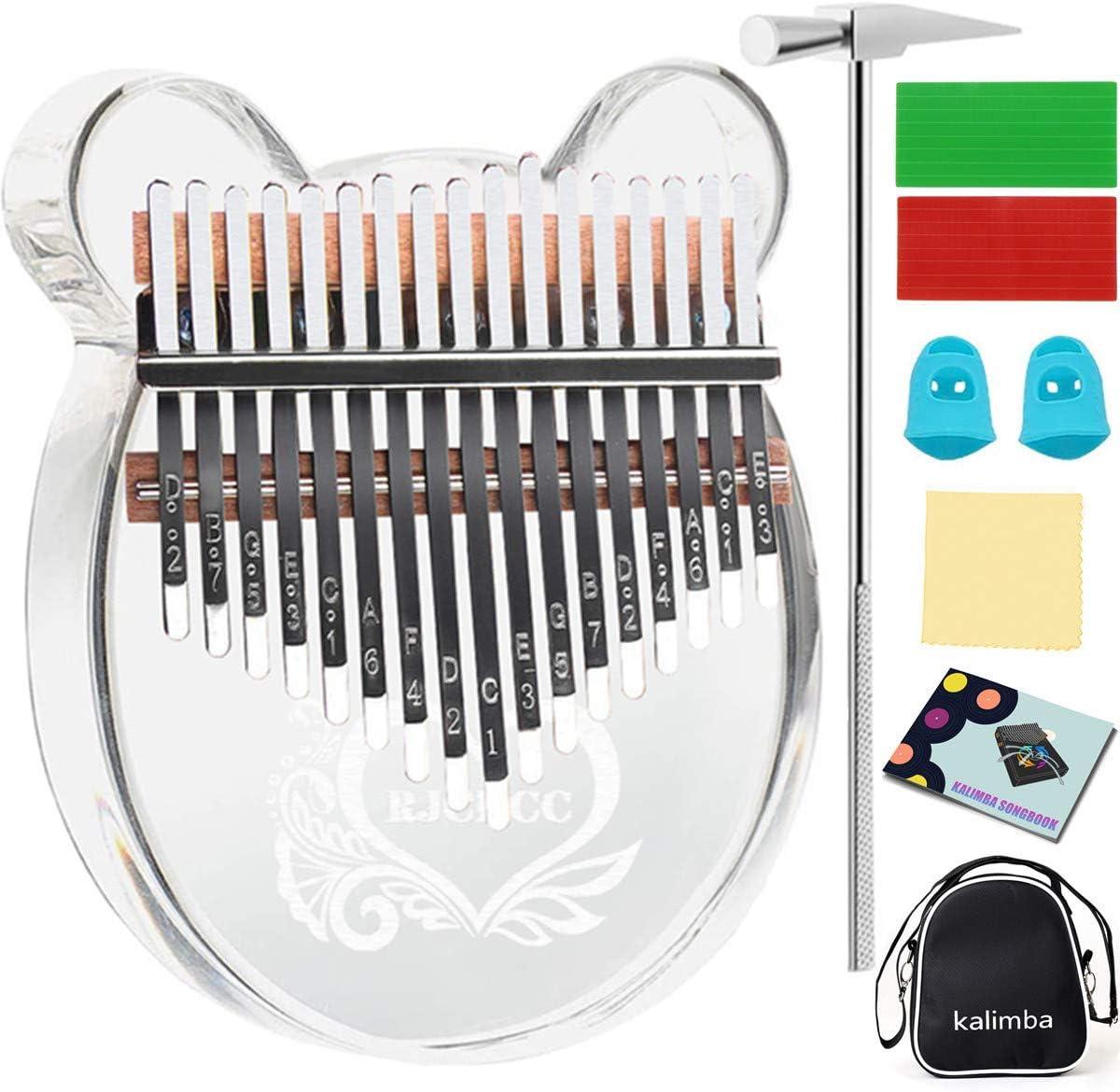Kalimba 17 Keys Kalimba Transparent Thumb Piano Home Percussion Instrument Acrylic Crystal Kalimba Finger Piano On for Beginner Color : Pink, Size : 17 Keys