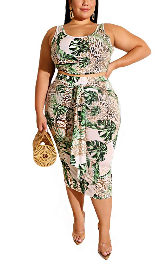 Womens Plus Size Crop Top Midi Skirt Outfit Two Piece Bodycon Bandage Dress  Summer Sleeveless Leopard Floral Print Knee Length Tunic T Shirt Dresses ...