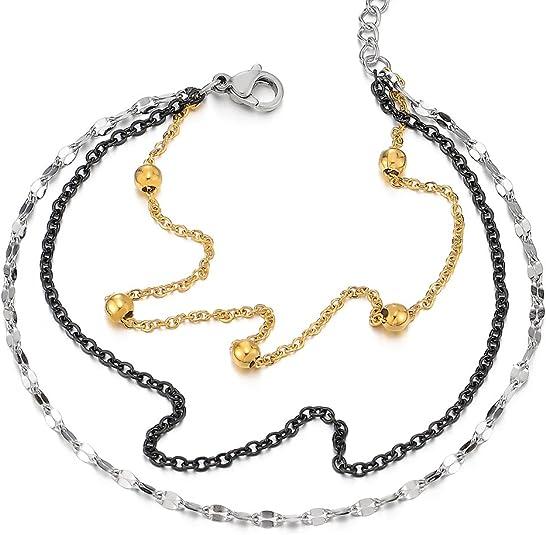 COOLSTEELANDBEYOND Plata Oro Negro Acero Inoxidable Tres Filas Tobillera para Mujer con Charms Colgantes Perla