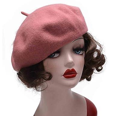 dfb2b07e80598 Amazon.com  Pure Wool Beret Hat Autumn Winter Women Beret Cap ...