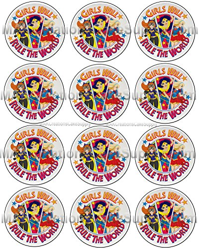 DC Comics Hero Girls Rule The World Licensed Edible Cupcake / Cookie Toppers ~ 12 Per Sheet
