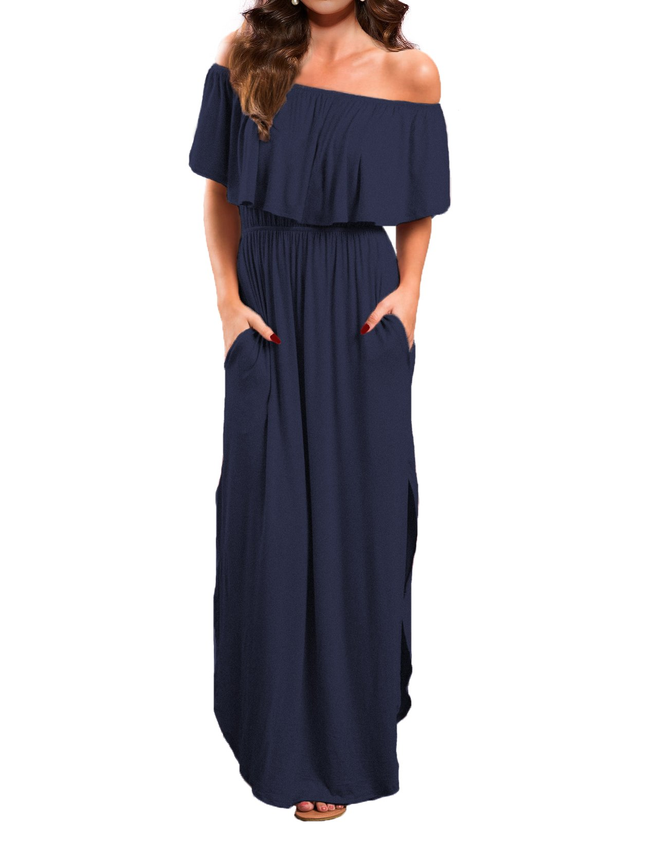 VERABENDI Women's Off Shoulder Summer Casual Long Ruffle Beach Maxi Dress with Pockets Navy Blue L