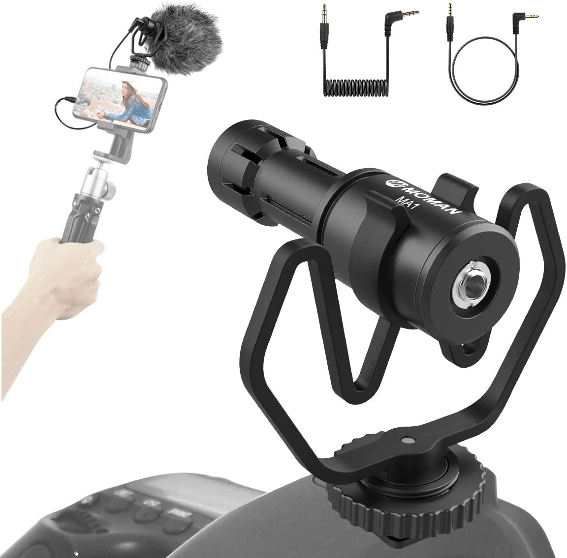 Moman MA1Camera Microphone Cardioid Condenser Shotgun Microphone with Shock Mount for Smartphone Laptop DSLR with 3.5mm Jack for Vlogging Interview YouTube Recording