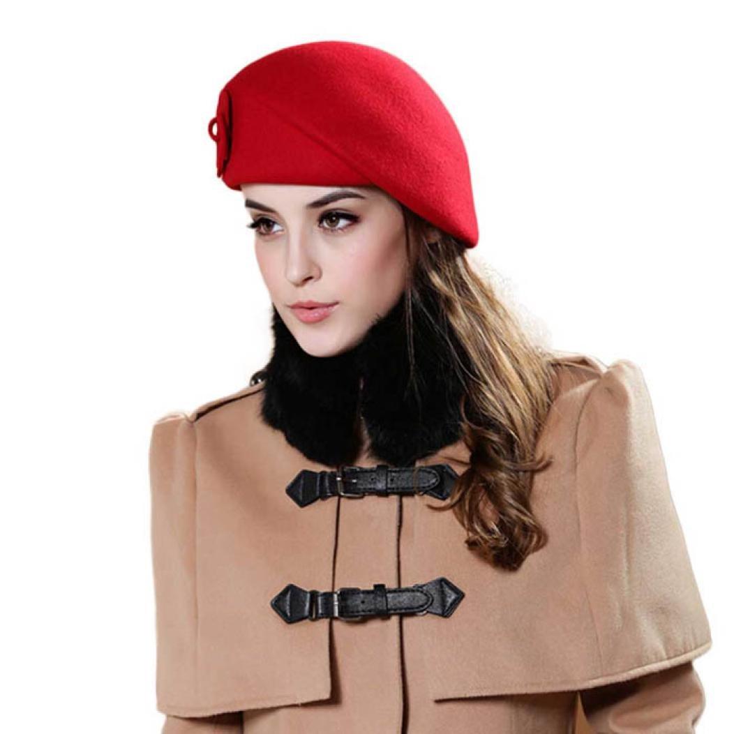 Koly Women's Autumn Winter French Style Beret Hat Wool Warm Beanie Cap Koly-SE26