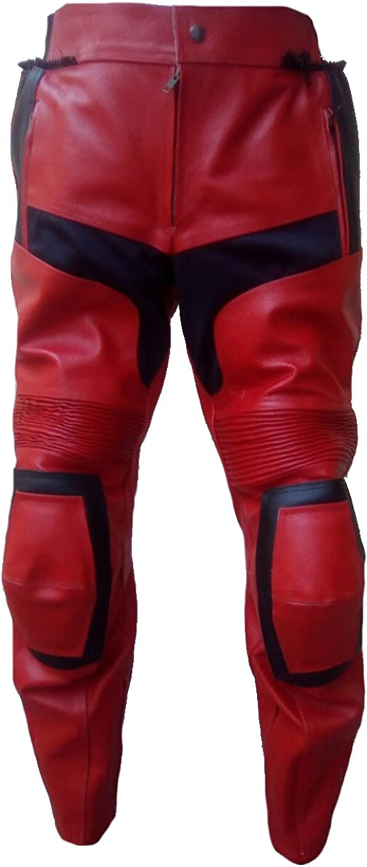 Sleekhides Mens Fashion Deadpool Real Leather Motorbike Pant Split Red 3X-Large