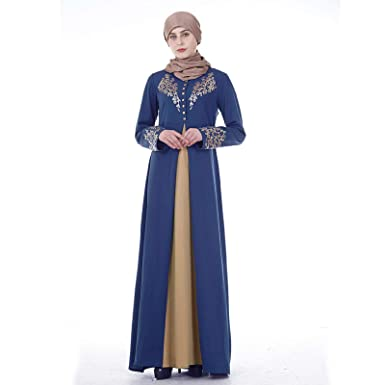 33b702e41 Amazon.com: Muslim Dresses for Women Floral Print Long Sleeve Casual Dress  Abaya Kaftan Islamic Clothing Maxi Long Prom Dresses: Clothing