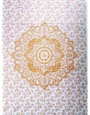ICC Small White and Gold Tapestry Wall Tapestry for Bedroom Hippie Indie Mandala Trippy Large Hanging Tapestries College Dorm Decor Golden Bedspread Gypsy Blanket Metallic Room 30 x 40 Inch