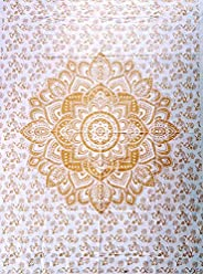 ICC Small White and Gold Tapestry Wall Tapestry for Bedroom Hippie Indie Mandala Trippy Large Hanging Tapestri