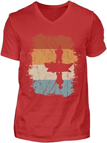 Shirtee Regalo de Pesca Retro para Pescadores apasionados y Aficionados a la Pesca - Camisa de Cuello en V para Hombre: Amazon.es: Ropa y accesorios