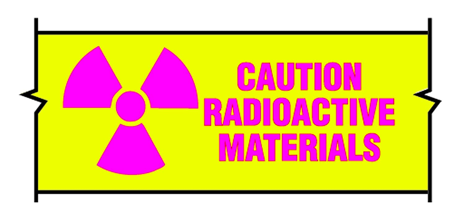 Caution Radioactive Material Tape, 1 in x 500 in, Isotope Amount and Date RPI Corp.