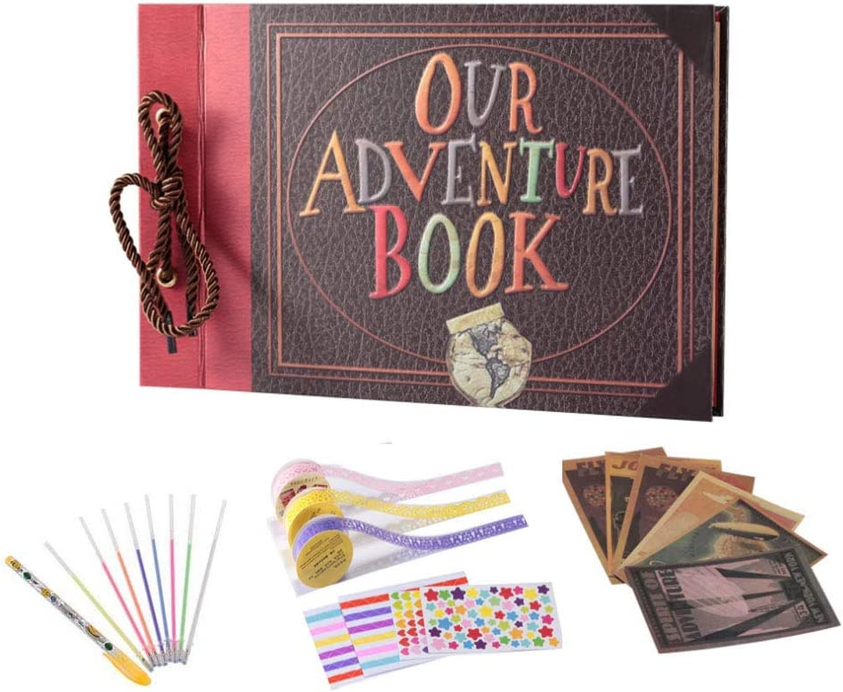 Our Adventure Book String Binding Self Stick 80 Page Vintage Family Album Notebook with Kits Accessories Gift Box Travel Scrapbook DIY Photo Album