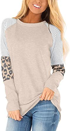 AYIFU Womens Casual Long Sleeve Tunic Tops Fall Shirts Loose Fit Comfy Blouses