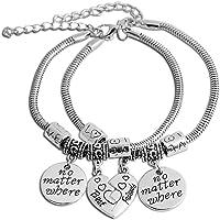 Yellow Chimes 2 PCS Best Friends Couple Heart Oxidized Silver Charm Bracelet for Girls (YCFJCBR-83BFF-SL)