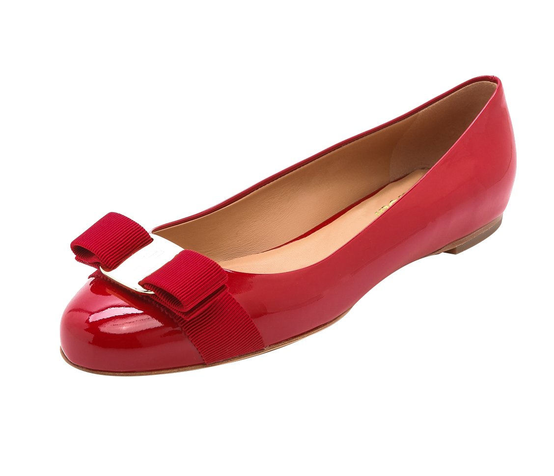 QianZuLian Womens Bowknot Flats Pumps Round head Slip On Dress Shoes Comfort for Home Leisure B0757YDLCV 11 B(M) US|Red