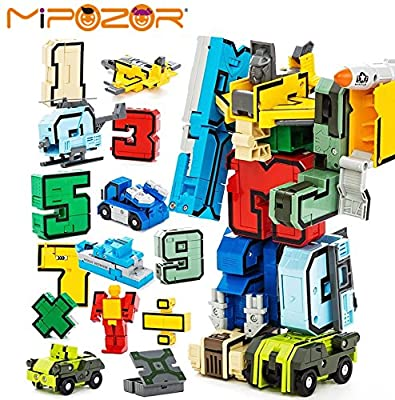 GUDI 15pcs Creative Assembling Educational Action Figures Transformers Number Robot Deform Plane Car Birthday Kids gift Toys