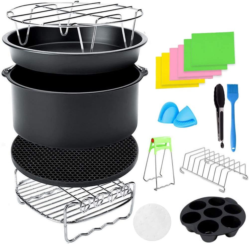 Meowoo 8 inch Air Fryer Accessories Fit for Air fryer 4.2-6.8QT,Deep Fryer Baking Basket Pizza Plate Grill Pot Kitchen Tools for Gowise Phillips and Cozyna