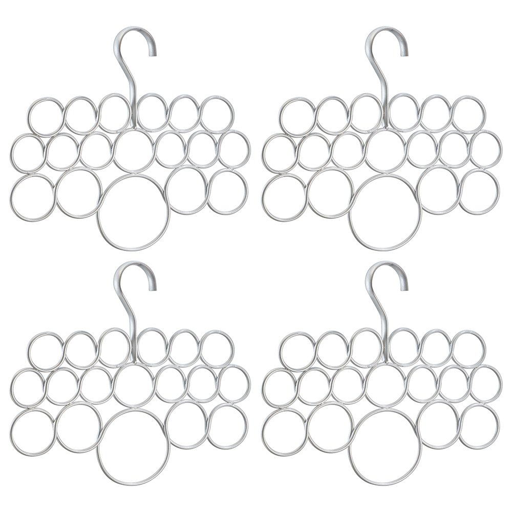 InterDesign Axis Scarf Hanger - Storage Organizer Rack for Scarves, Neck Ties, Belts, Shawls, Pashminas and Accessories - 18 Loops, Pearl Silver, Set of 4 by InterDesign