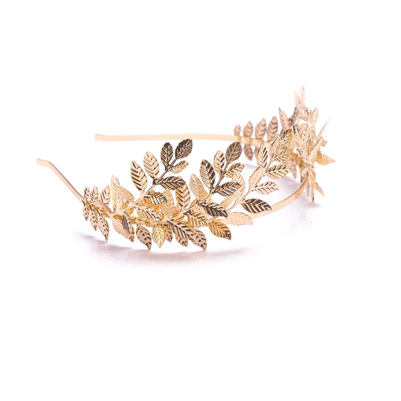 runde Tiara im Vintage- // Barock-Stil goldfarbener Olivenzweig Hochzeitskrone mit Strasssteinen und Perlen Kercisbeauty Brautschmuck