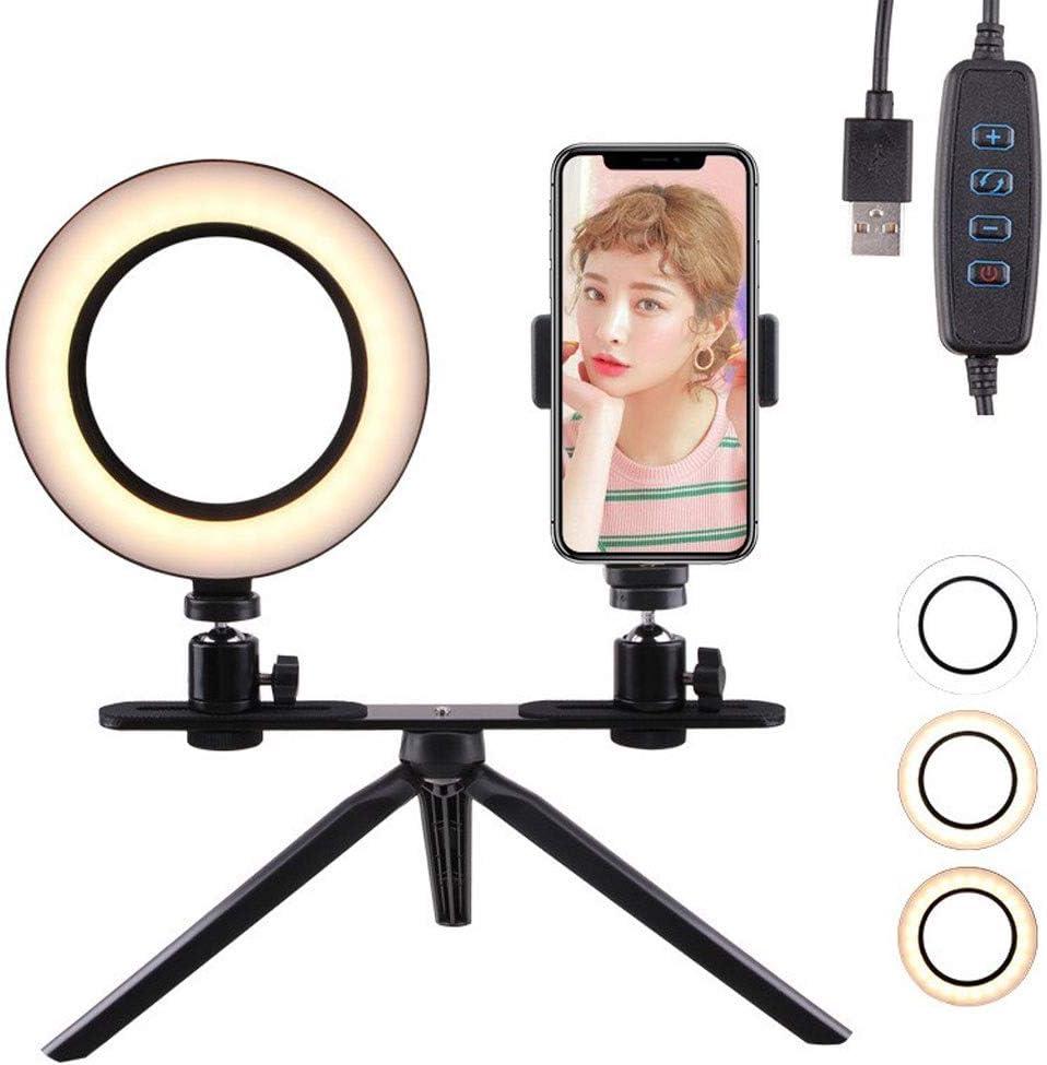 Color : 16CM Fill Light DFYYQ LED Desktop Ring Light Set with Crossbar Tripod 3 Light Mode Mobile Phone Holder Self-Timer Lamp//USB Power Supply Flashes