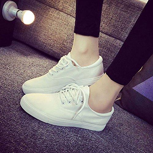 T & Mates Femmes Pure Couleur Classique Lacets Lacets Respirant Coupe Basse Plat Chaussures De Sport Blanc