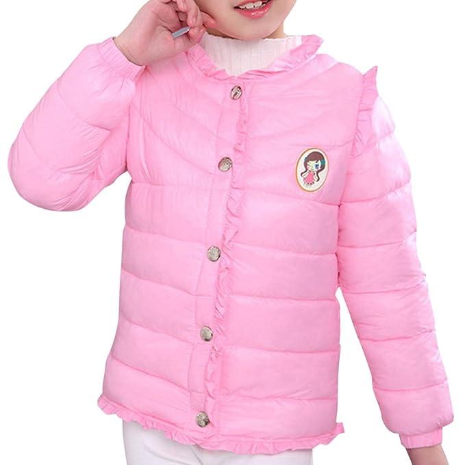 Chaquetas Cuello-Redondo Nieve de Invierno Color-sólido con Capucha Abrigos Ropa para Niñas con Botóns: Amazon.es: Ropa y accesorios