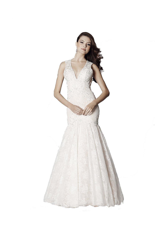 Tiffanys Illusion Prom Ivory Penelope Lace Open Back Fishtail Gown UK 10 (US 6): Amazon.co.uk: Clothing