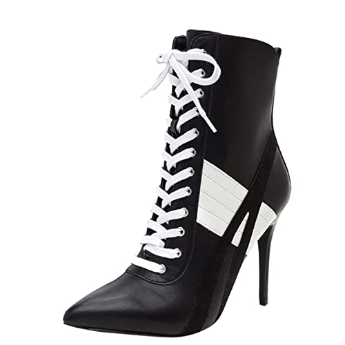 e64b0d1885b Wild Diva Womens Pointed Toe Lace up High Stiletto Heel Ankle Booties  Sneaker Boot