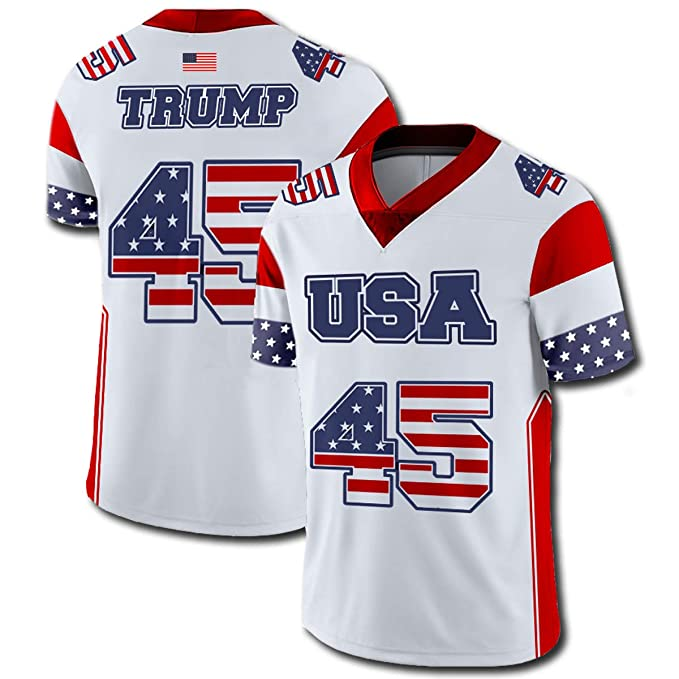 82906703d6f Amazon.com  Greater Half Custom White Trump  45 Football Jersey ...