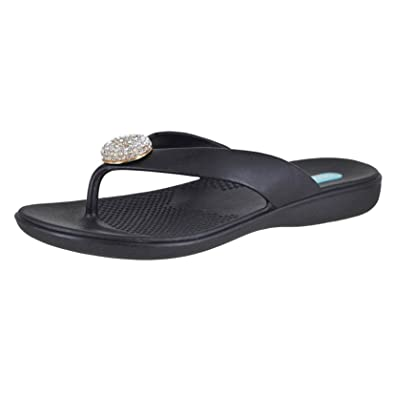96e2cdd7c4459e Oka-B Jewel Licorice Clear Crystal Womens Flip-Flop Size mm Black