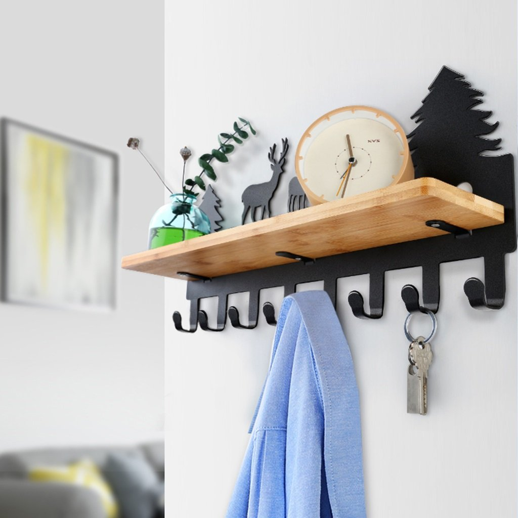 COAT RACK Wall Mounted With Shelf, Vintage Metal Deer Wall Hooks, Decorative Organizer Hooks For Clothes, Clothes Hat Holder With 8 Black Metal Hooks